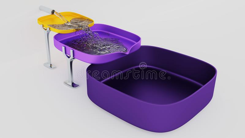 Three Purple and Yellow Square Bowls where Water Start filling u royalty free illustration