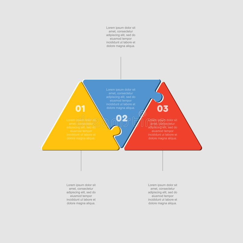Three puzzle jigsaw triangle line diagram graphic. Three pieces puzzle triangles diagram. Triangle line business presentation infographic. 3 steps, parts vector illustration