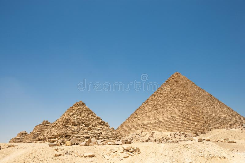 Pyramids of Queens near the Pyramid of Menkaure in Giza stock photography