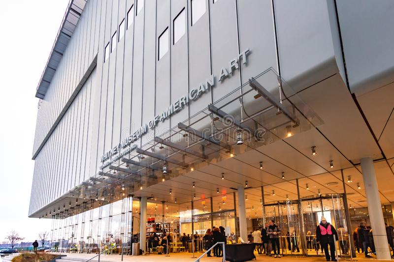 New York, NY / United States-Dec 9, 2018: Whitney Museum of Amer. Three quarter view of the new modern building housing the Whitney. The Whitney focuses on 20th stock photo