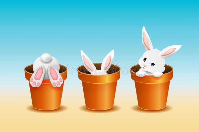 Easter background, three adorable white rabbits in flower pots. Vector illustration stock image