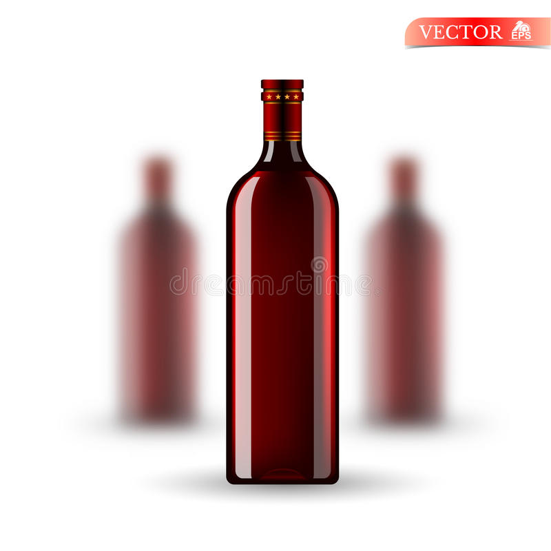 Three realistic mock up red bottle of wine on white. Vector illustration one bottle sharp and two bottles depth of fiel stock illustration