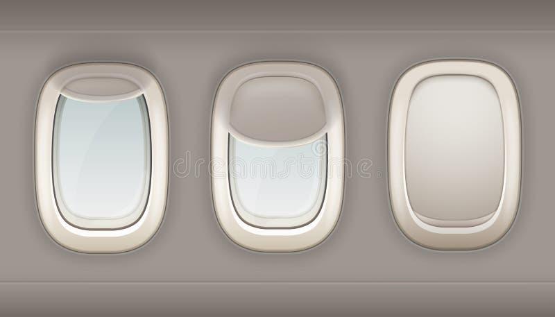Three Realistic Portholes Of Airplane royalty free illustration