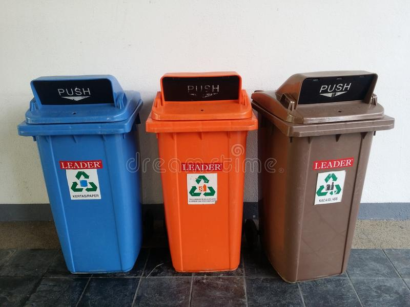 Three Recycle colorful plastic bin stock photography