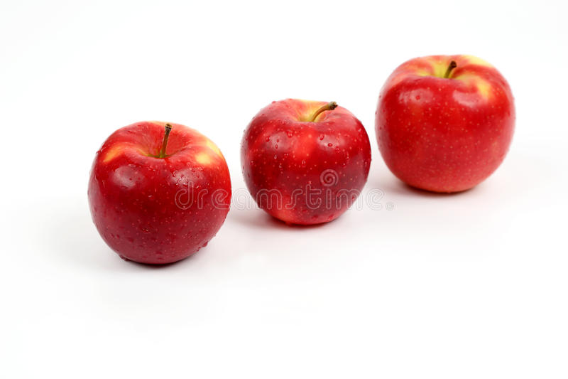 Three red apple on white background. The three red apple on white background royalty free stock photography