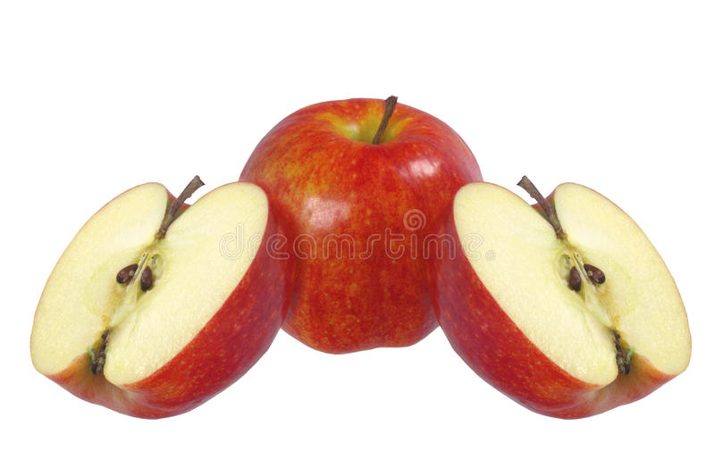 Three red apples isolated. On white background stock image