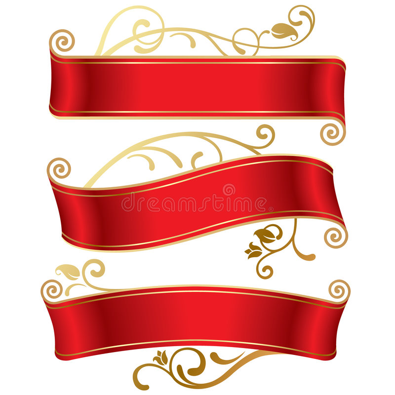 Three red banners royalty free illustration