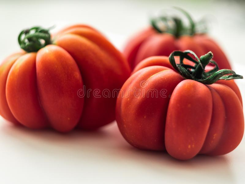 Three red beefsteak tomatoes. stock images