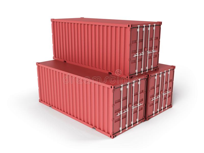Download Three red cargo containers stock illustration. Illustration of freight - 18393222