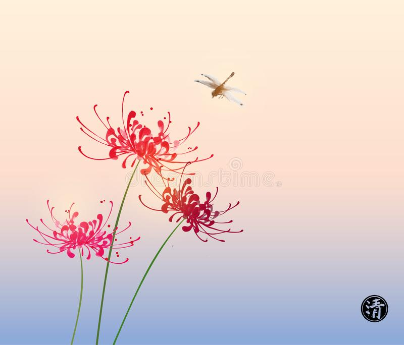 Three red chrysanthemum flowers and dragonfly on rice paper back royalty free illustration