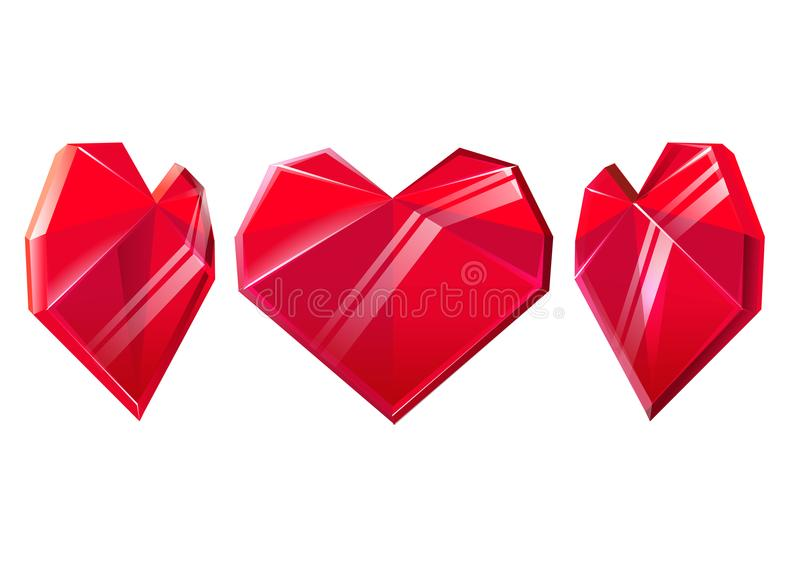 Three red crystal hearts isolated on white background. Design element for Valentines day. Vector illustration. stock illustration