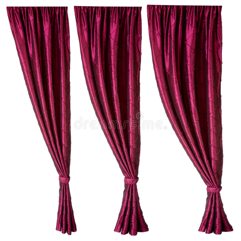 Three red curtains royalty free stock photography