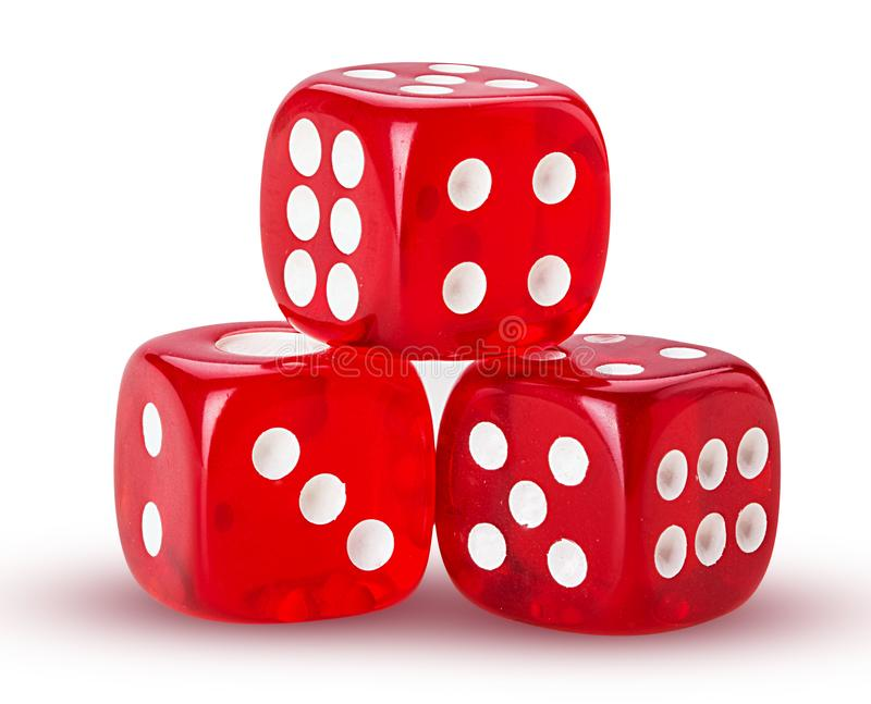 Three red dice royalty free stock images