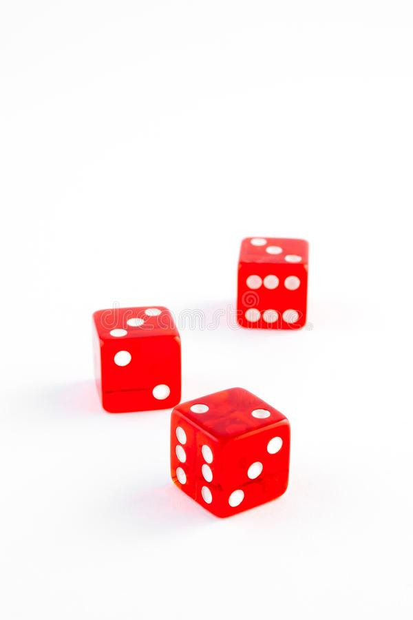 Three red dice on white background royalty free stock photos