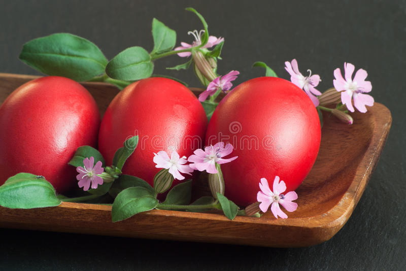 Download Three red Easter eggs stock photo. Image of vibrant, purple - 19108056