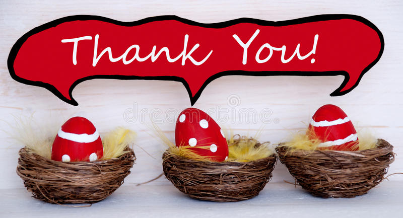 Three red easter eggs with comic speech balloon with thank you stock download three red easter eggs with comic speech balloon with thank you stock photo image negle Images