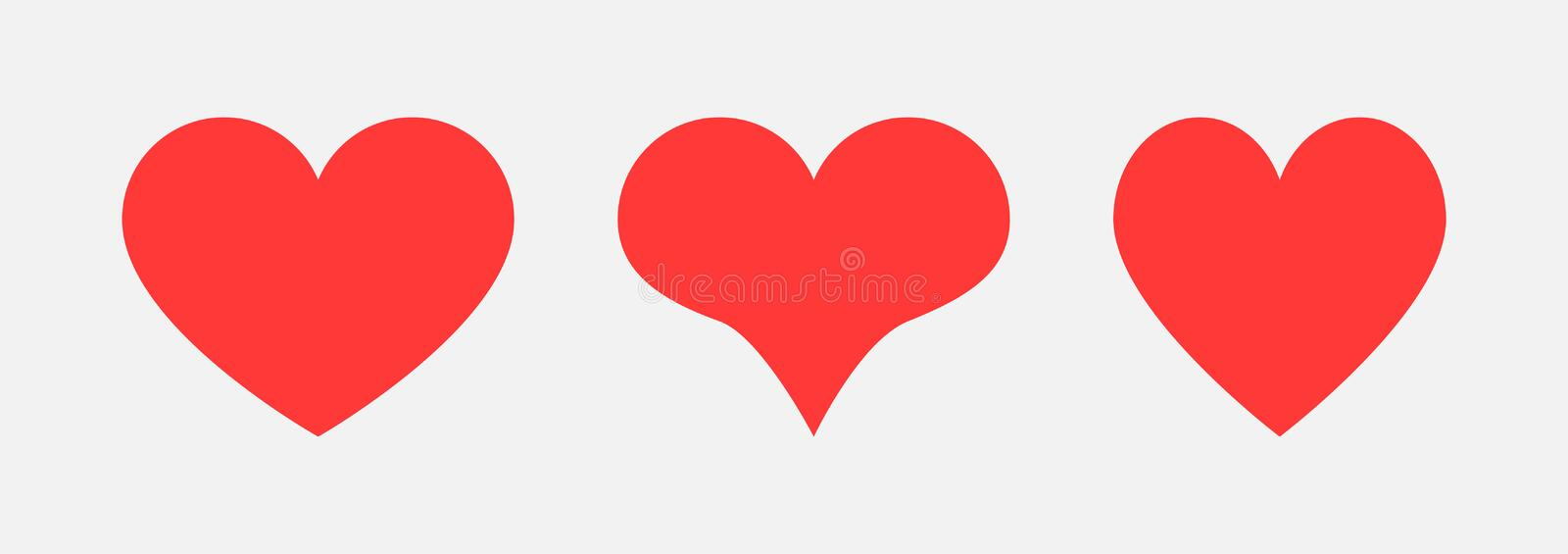 Three red heart icons for your design. Love symbol. Hearts icons for design on Valentines Day stock illustration