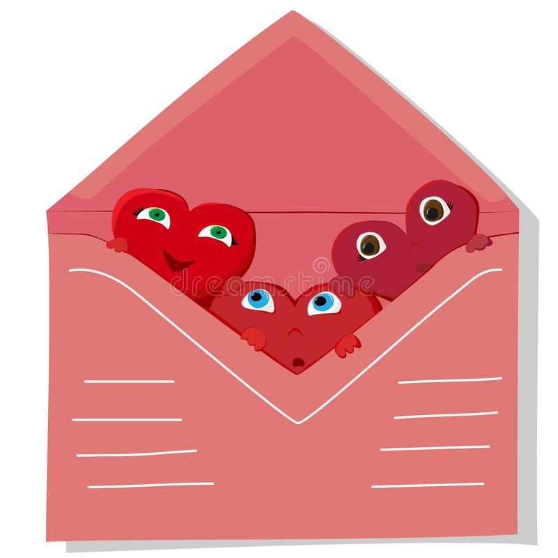 Three red hearts look out of a pink envelope vector illustration