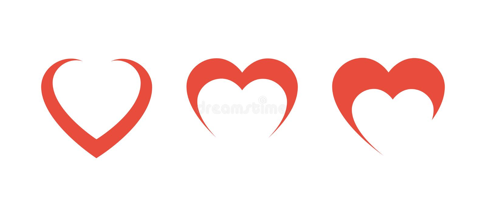 Three Red Hearts in row on blank background vector illustration