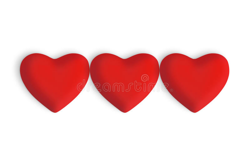 Three Red love hearts. On a white background royalty free stock photos