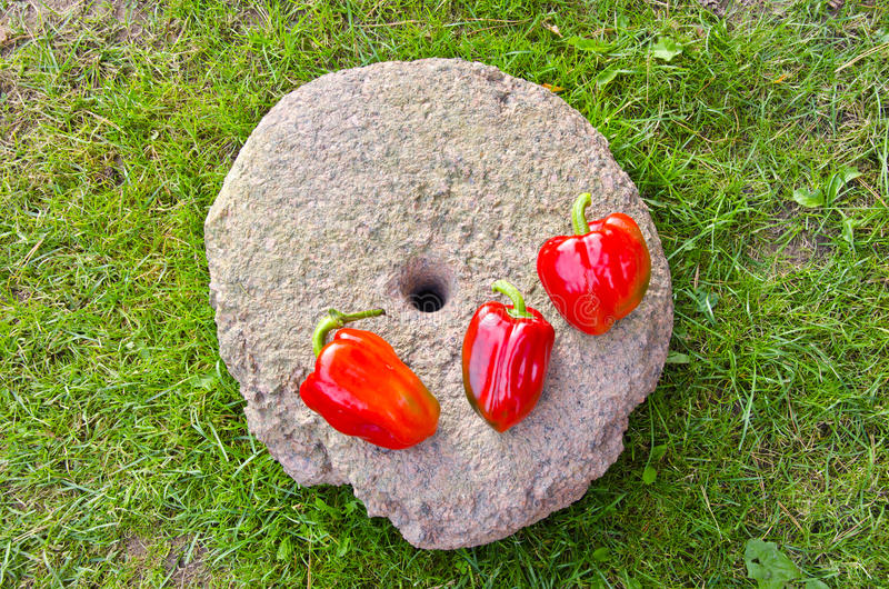 Three red peppers on old millstone stock photo