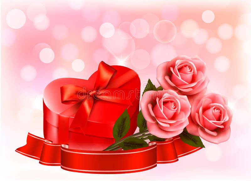 Three Red Roses With Red Heart-shape Royalty Free Stock Photography
