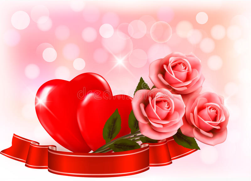 . Three red roses with two hearts and vector illustration