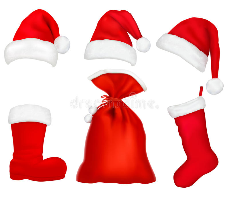 Three red santa hats and elements. stock illustration