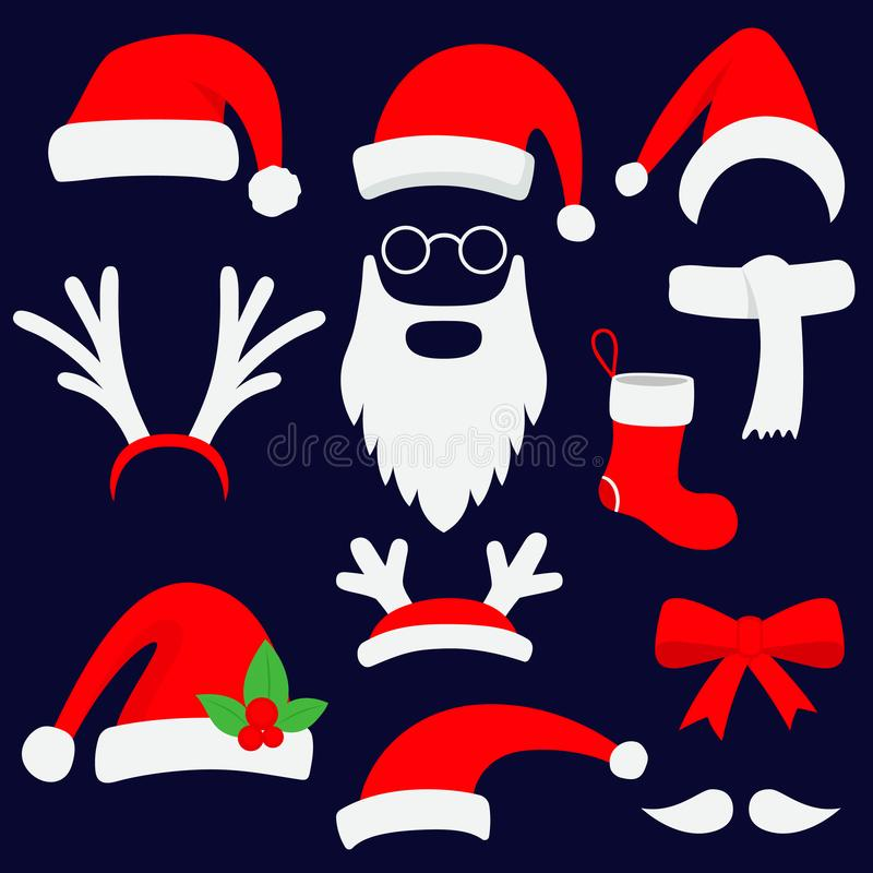 Three red santa hats, horns, mustache, beard and christmas stocking. royalty free illustration