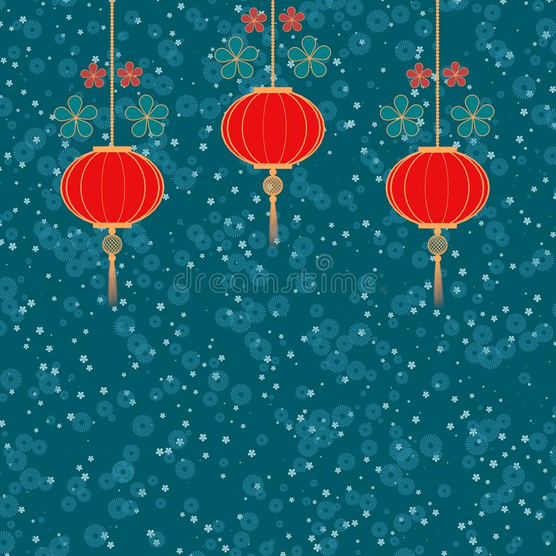 Three red traditional chinese lanterns on blue floral background 3D illustration. Asian new year symbol. Copy space vector illustration