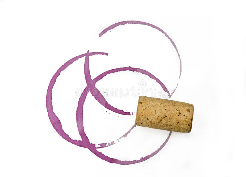 Cork, red wine glass stain, stains, white background stock photography