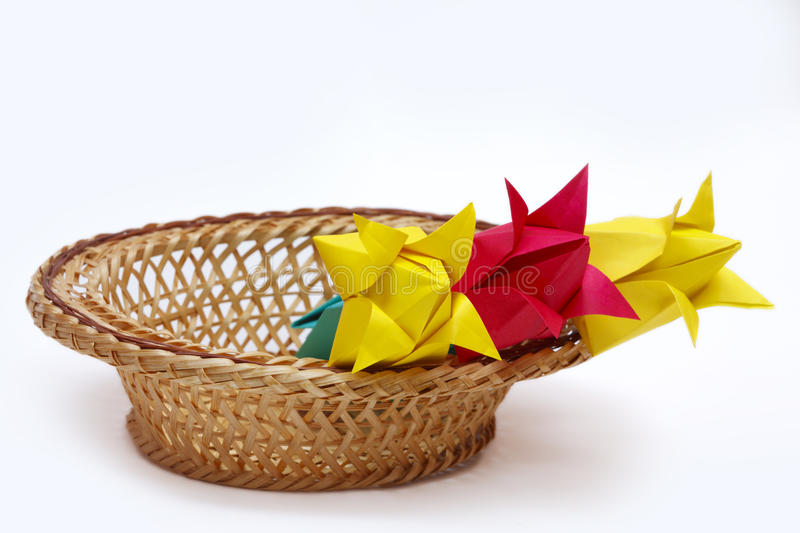 Download Red And Yellow Paper Tulips In A Basket Stock Image - Image: 30151887