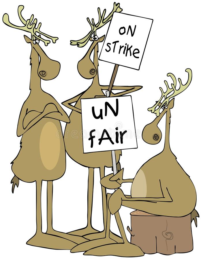 Three reindeer with picket signs royalty free illustration