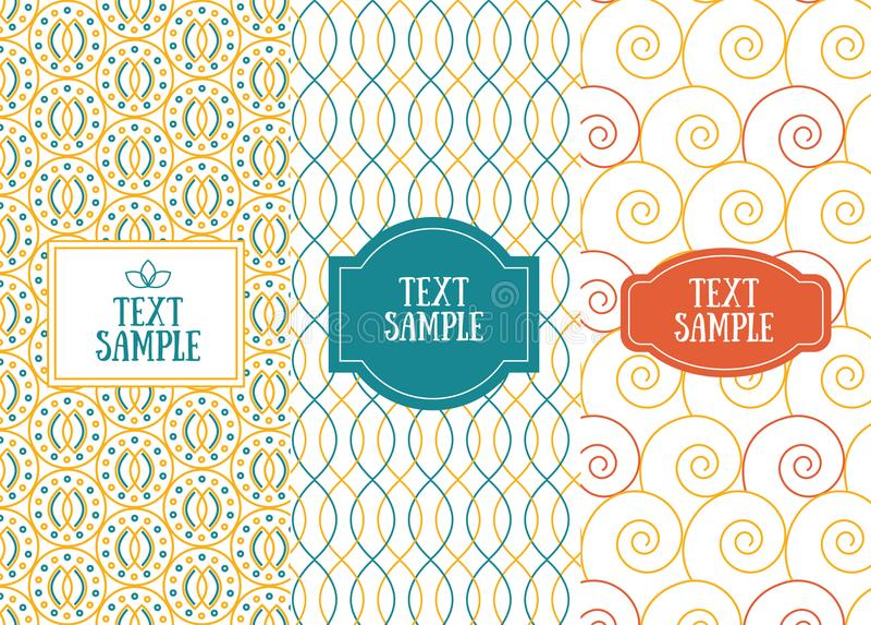 Three retro chic seamless patterns for invitation design stock illustration