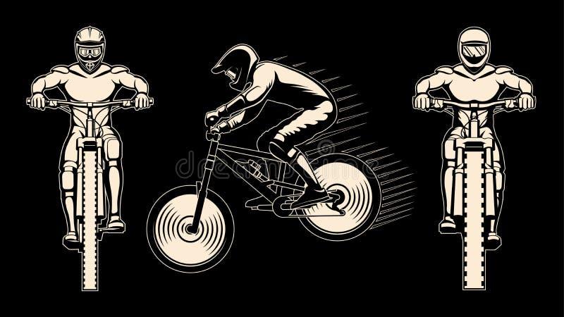 Three riders isolated on black. Stock vector illustration stock illustration
