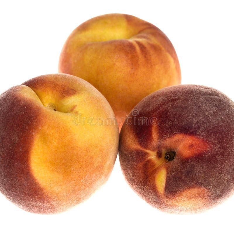 Three ripe juicy peaches stock images