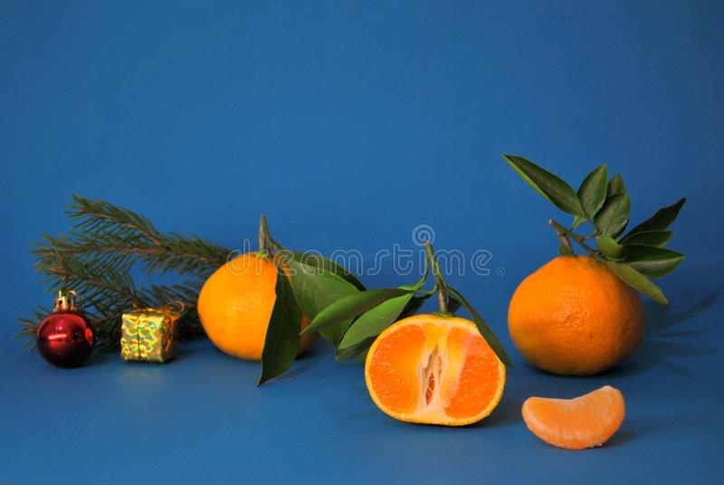 Three ripe juicy tangerines, a branch of spruce and a pair of Christmas toys on a blue background. Three ripe juicy mandarins, a branch of spruce and a pair of stock images