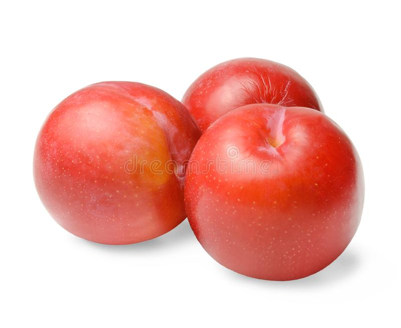 Three ripe red round plums isolated on white. Close-up. stock photography