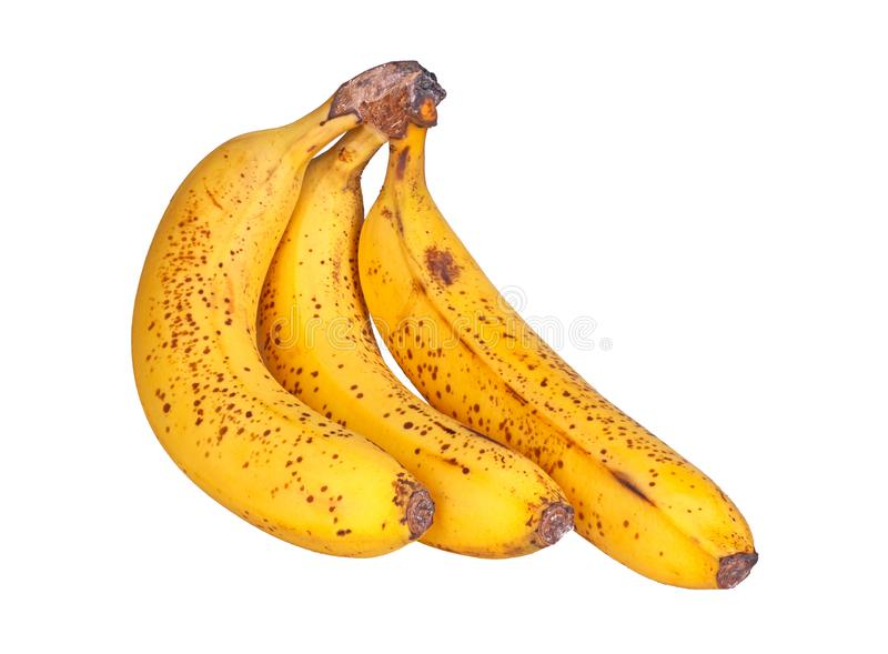 Three ripe, spotted bananas isolated on white royalty free stock photos