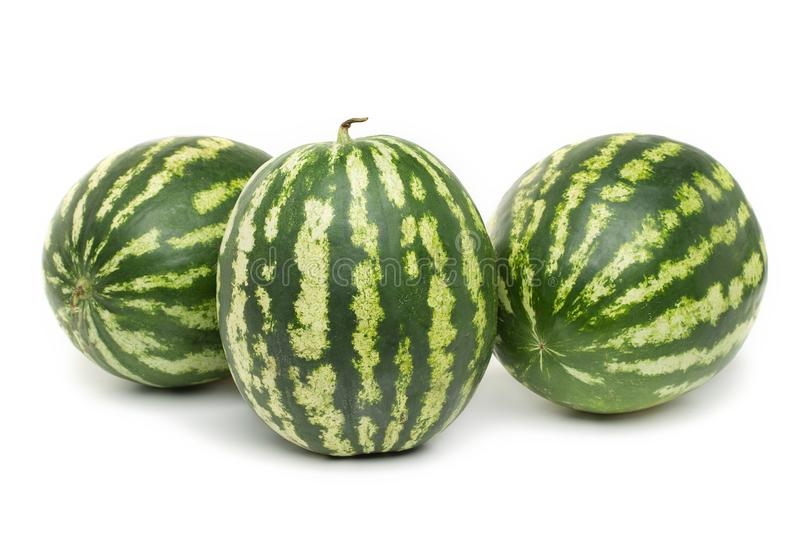 Three ripe watermelons berry on white background stock photos