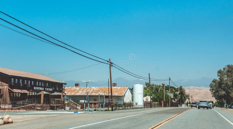 Picturesque highway in the Sierra Nevada. Agricultural Area in California, USA. American rural life stock image