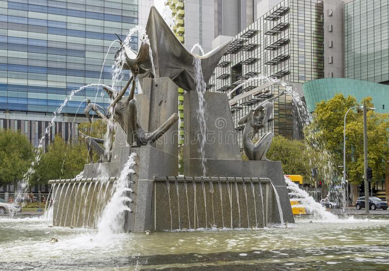 The Three Rivers Fountain in Victoria Square, Adelaide, Southern Australia royalty free stock photo