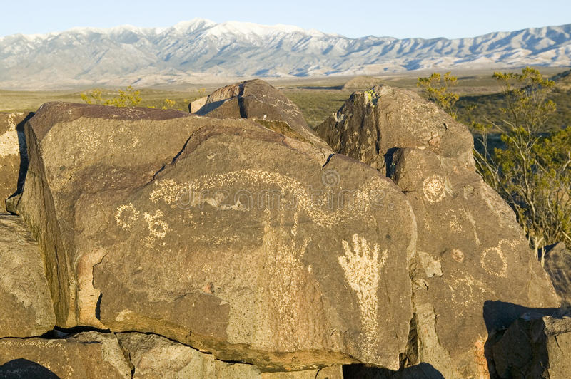Three Rivers Petroglyph National Site, a (BLM) Bureau of Land Management Site, features an image of a hand, one of more than stock photography