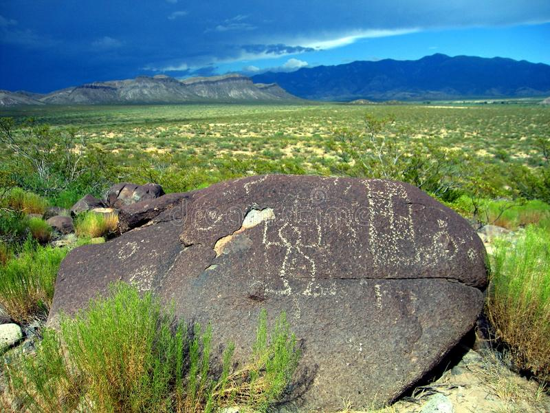 Three Rivers Petroglyphs, New Mexico. View of petroglyphs and the Sacramento mountains in New Mexico stock photos