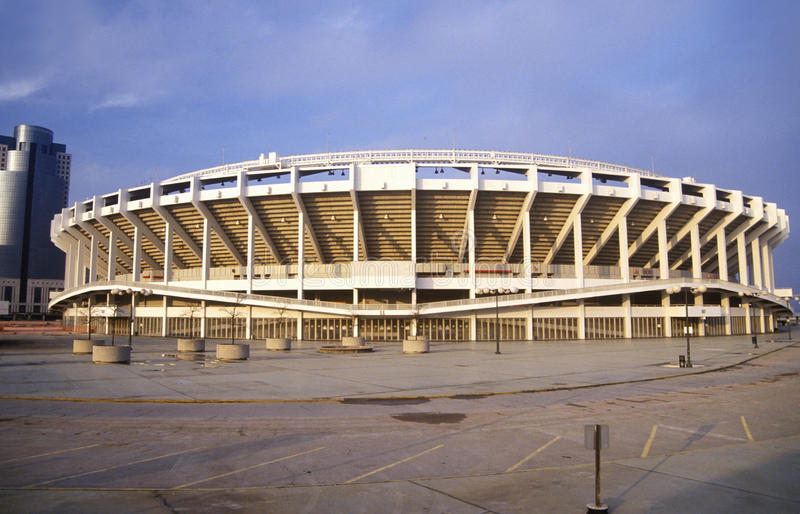 Three Rivers Stadium auf dem Ohio, Cincinnati, OH- stockbild