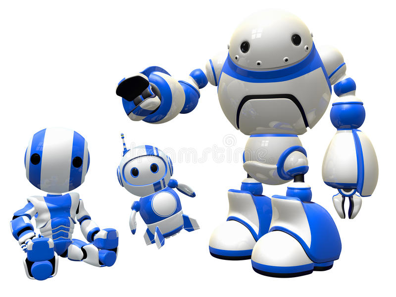 Download Three  Robots Joined In Unity Stock Illustration - Image: 26056995