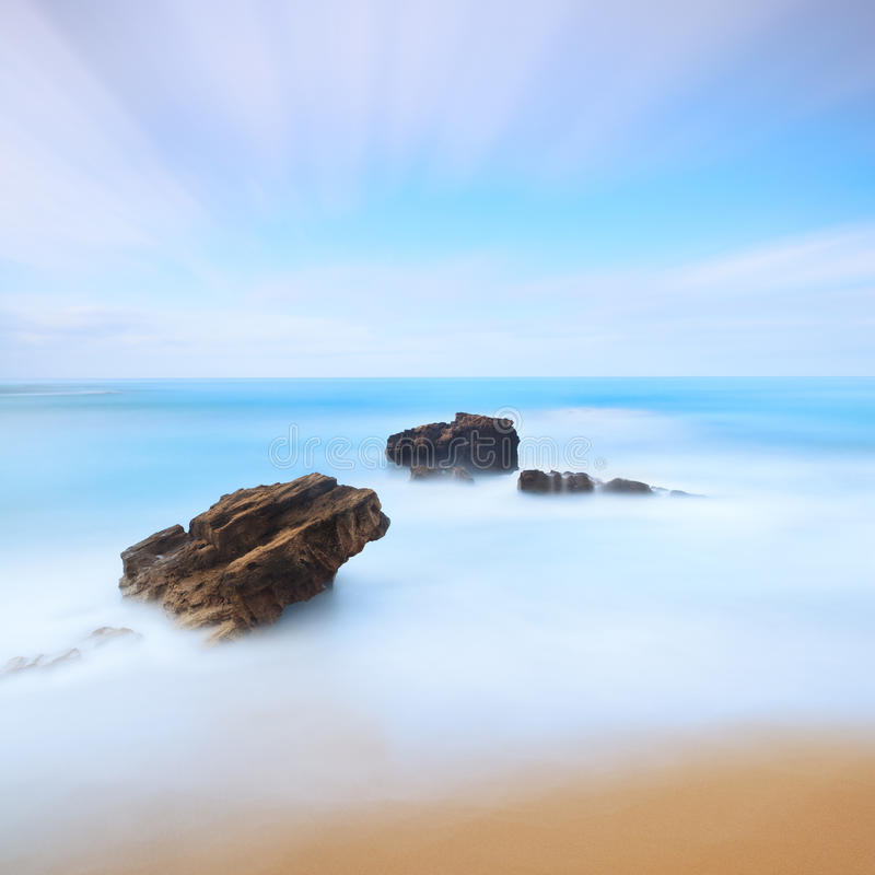 Three Rocks Seascape. Long Exposure Photography. Stock Photo