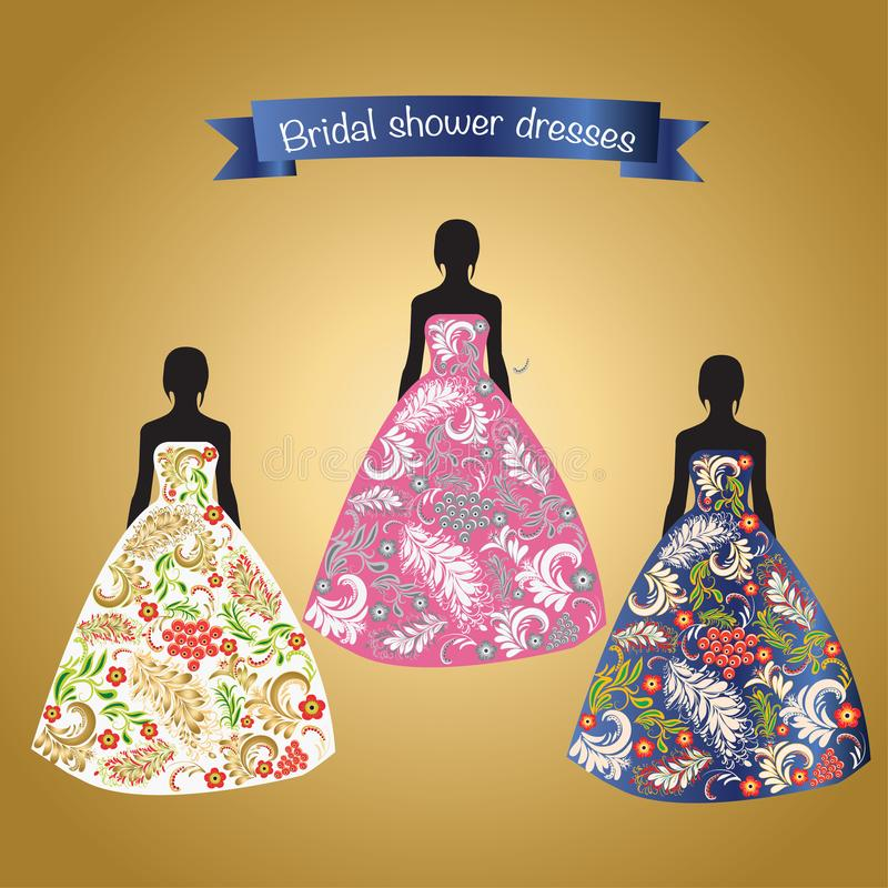 Three Romantic beautiful bridal or evening dresses. royalty free illustration