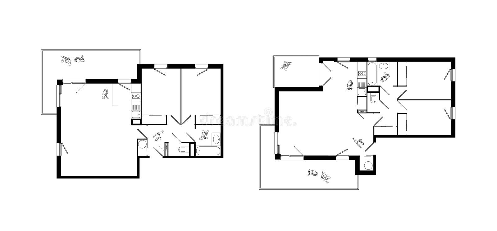Three rooms apartment plans set stock illustration for Apartment stock plans