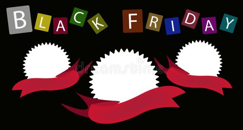 Download Three Round Banners On Black Friday Background Stock Illustration - Illustration: 32689097